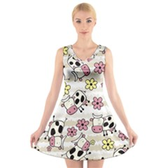 Cow Animals V Neck Sleeveless Skater Dress by Jojostore