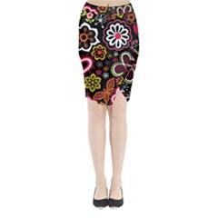 Flower Butterfly Midi Wrap Pencil Skirt by Jojostore