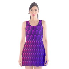 Outstanding Hexagon Blue Purple Scoop Neck Skater Dress by Jojostore