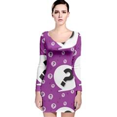 Question Mark Sign Long Sleeve Velvet Bodycon Dress by Jojostore