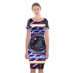 Abstract Sphere Room 3d Design Classic Short Sleeve Midi Dress
