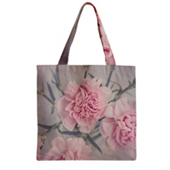 Cloves Flowers Pink Carnation Pink Zipper Grocery Tote Bag by Amaryn4rt