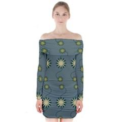 Repeat Long Sleeve Off Shoulder Dress by Jojostore