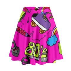 Smile Cute Face Purple High Waist Skirt by Jojostore
