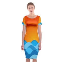 Water Orange Classic Short Sleeve Midi Dress by Jojostore