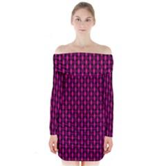 Webbing Woven Bamboo Pink Long Sleeve Off Shoulder Dress
