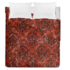 Damask1 Black Marble & Red Marble (r) Duvet Cover Double Side (queen Size) by trendistuff