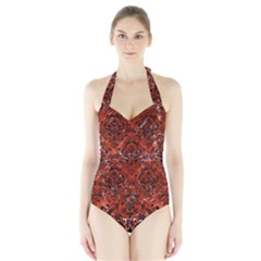 Damask1 Black Marble & Red Marble (r) Halter Swimsuit by trendistuff