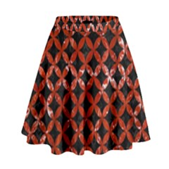 CIR3 BK-RD MARBLE High Waist Skirt by trendistuff