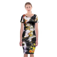 Canvas Acrylic Digital Design Art Classic Short Sleeve Midi Dress