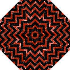 Chevron9 Black Marble & Red Marble Folding Umbrella by trendistuff