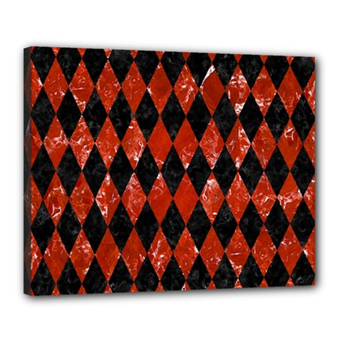 Diamond1 Black Marble & Red Marble Canvas 20  X 16  (stretched) by trendistuff