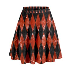 DIA1 BK-RD MARBLE High Waist Skirt by trendistuff