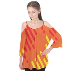 Color Minimalism Red Yellow Flutter Tees by Jojostore