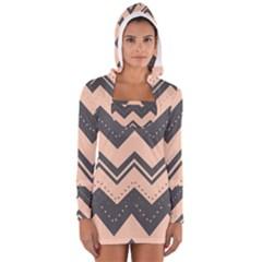 Chevron Ideas Gray Colors Combination Women s Long Sleeve Hooded T Shirt by Jojostore