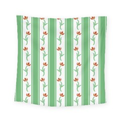 Flower Background Green Square Tapestry (small) by Jojostore