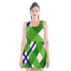 Green Plaid Scoop Neck Skater Dress by Jojostore