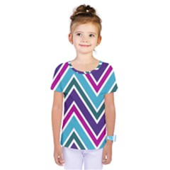 Fetching Chevron White Blue Purple Green Colors Combinations Cream Pink Pretty Peach Gray Glitter Re Kids  One Piece Tee by Jojostore