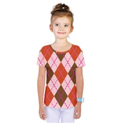 Texture Background Argyle Brown Kids  One Piece Tee by Jojostore