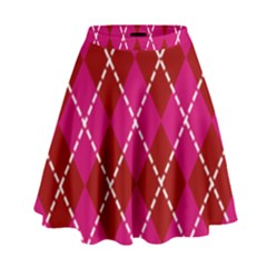 Texture Background Argyle Pink Red High Waist Skirt by Jojostore