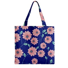 Seamless Blue Floral Zipper Grocery Tote Bag by Jojostore