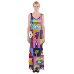 Monster Quilt Maxi Thigh Split Dress by Jojostore