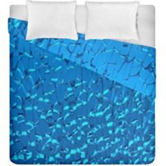 Shattered Blue Glass Duvet Cover Double Side (King Size) by Jojostore