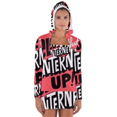 Closethe Internet Up Women s Long Sleeve Hooded T-shirt by Jojostore