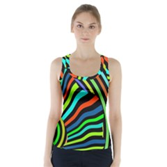 Colorful Cat Racer Back Sports Top by Jojostore