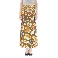 Face Cat Cute Purple Yellow Maxi Skirts by Jojostore