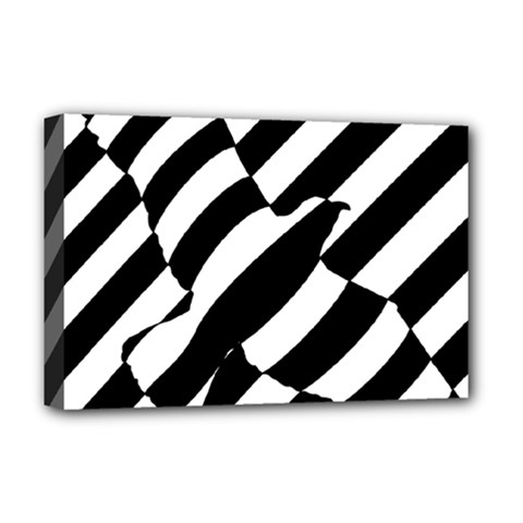 Flaying Bird Black White Deluxe Canvas 18  X 12   by Jojostore