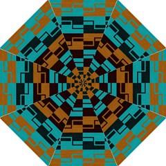 Fabric Textile Texture Gold Aqua Straight Umbrellas by Jojostore