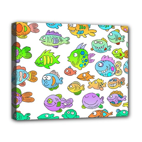 Fishes Col Fishing Fish Deluxe Canvas 20  X 16   by Jojostore