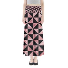 Triangle1 Black Marble & Red & White Marble Full Length Maxi Skirt by trendistuff