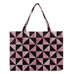 Triangle1 Black Marble & Red & White Marble Medium Tote Bag by trendistuff