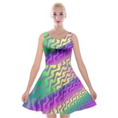Line Colour Wiggles Velvet Skater Dress