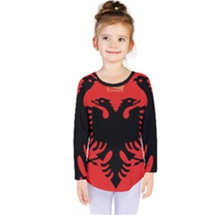 Coat Of Arms Of Albania Kids  Long Sleeve Tee by abbeyz71