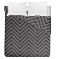 Background Gray Zig Zag Chevron Duvet Cover Double Side (Queen Size) by Jojostore