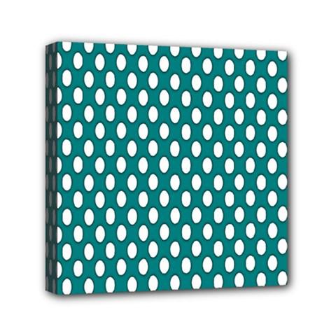 Circular Pattern Blue White Mini Canvas 6  X 6  by Jojostore