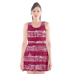 City Building Red Scoop Neck Skater Dress by Jojostore