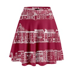 City Building Red High Waist Skirt by Jojostore