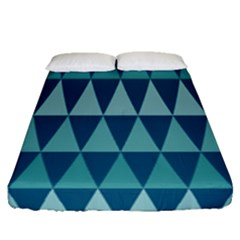 Blues Long Triangle Geometric Tribal Background Fitted Sheet (queen Size)