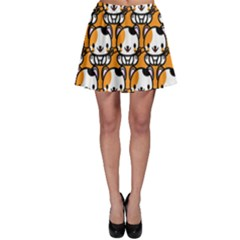Face Cat Yellow Cute Skater Skirt by Jojostore