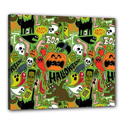 Halloween Pattern Canvas 24  X 20  by Jojostore