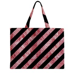 Stripes3 Black Marble & Red & White Marble Zipper Mini Tote Bag by trendistuff