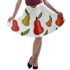 Decorative Pears Pattern A Line Skater Skirt by Valentinaart