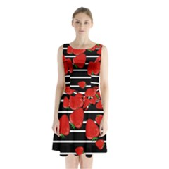 Strawberries  Sleeveless Chiffon Waist Tie Dress by Valentinaart