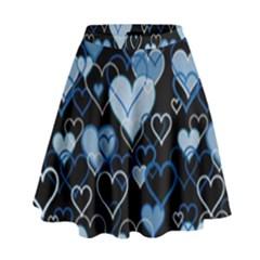 Blue Harts Pattern High Waist Skirt by Valentinaart
