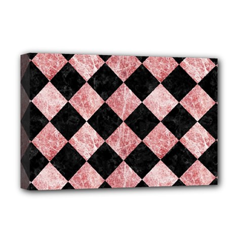 Square2 Black Marble & Red & White Marble Deluxe Canvas 18  X 12  (stretched) by trendistuff