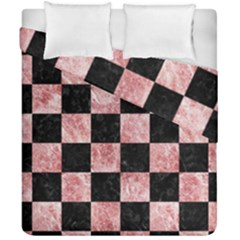 Square1 Black Marble & Red & White Marble Duvet Cover Double Side (california King Size) by trendistuff